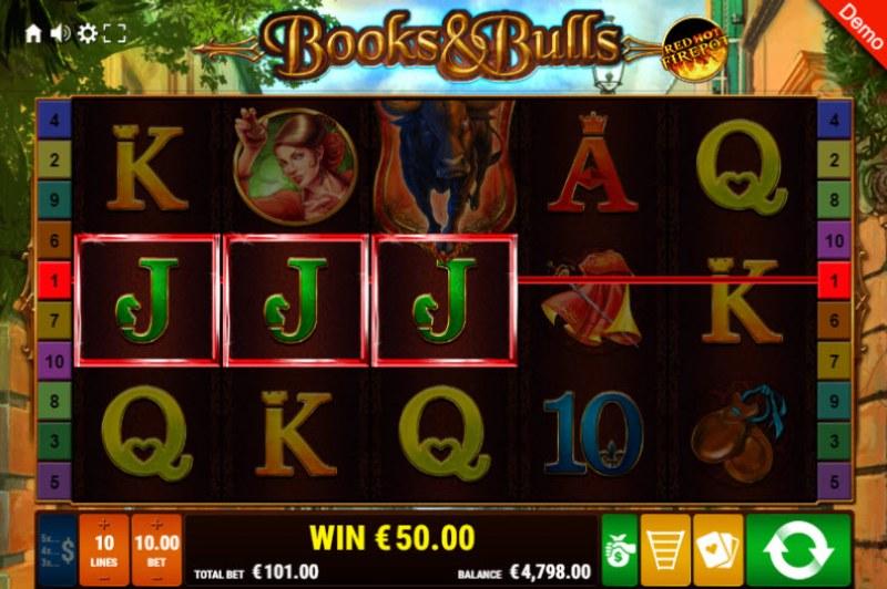 Books & Bulls Red Hot Firepot :: Three of a kind win