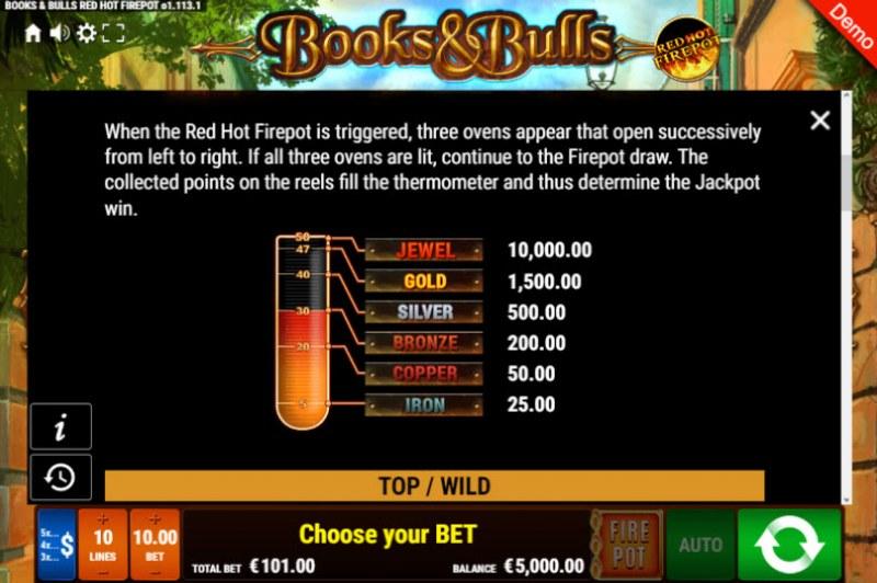 Books & Bulls Red Hot Firepot :: Jackpot Rules