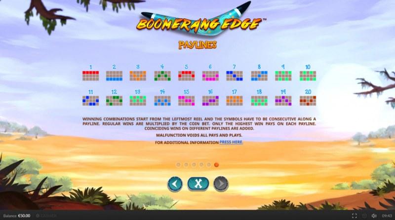 Boomerang Edge :: Paylines 1-20