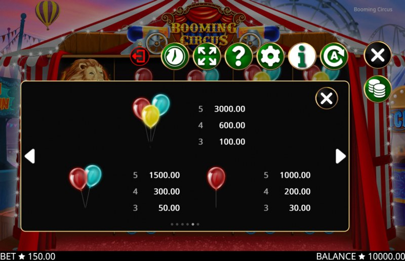 Booming Circus :: Paytable - Low Value Symbols