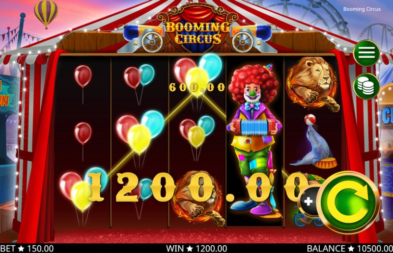 Play slots at Boo Casino: Boo Casino featuring the Video Slots Booming Circus with a maximum payout of $150,000