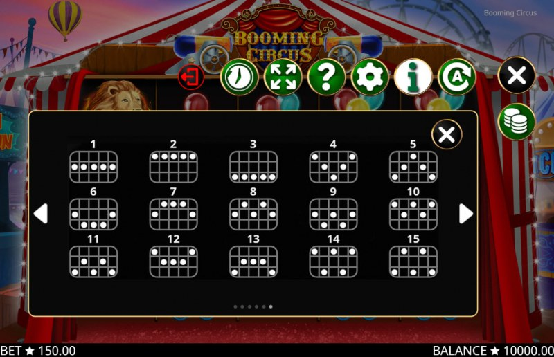 Booming Circus :: Paylines 1-15