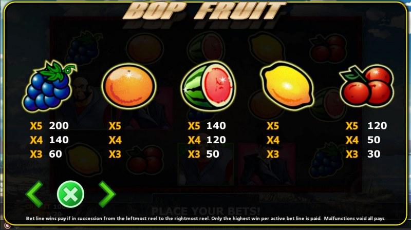 Bop Fruit :: Paytable - High Value Symbols