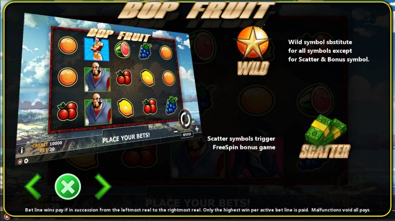 Bop Fruit :: Wild and Scatter Rules