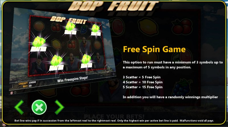 Bop Fruit :: Free Spins Rules