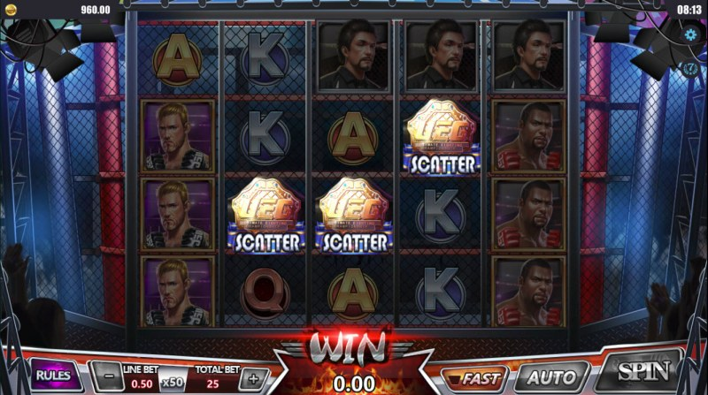 Boxing Arena :: Scatter symbols triggers the free spins feature