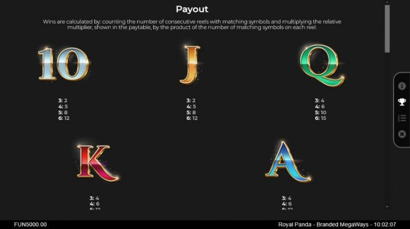 Branded Megaways :: Paytable - Low Value Symbols