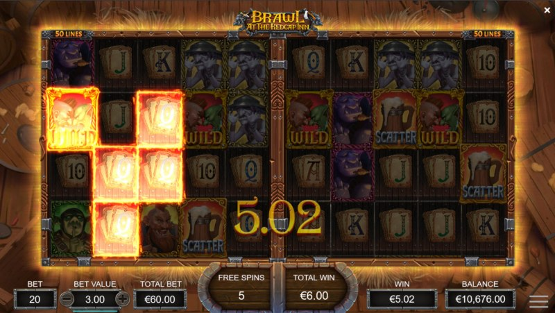 Brawl at the Redcap Inn :: Free Spins Game Board