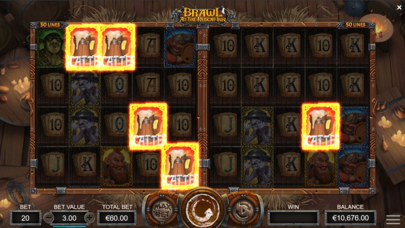 Brawl at the Redcap Inn :: Five or more scatters across both reel sets triggers free games