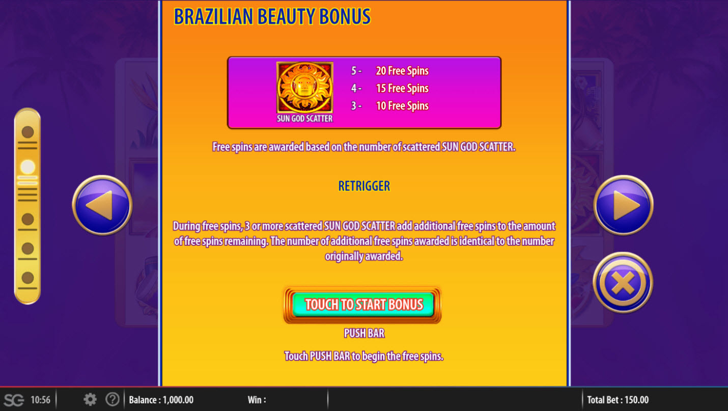 Brazilian Beauty :: Free Spins Rules