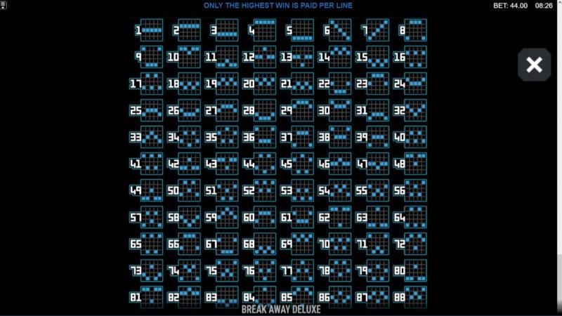 Break Away Deluxe :: Paylines 1-88