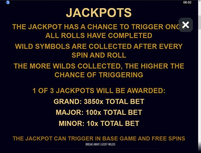 Break Away Lucky Wilds :: Jackpot Rules