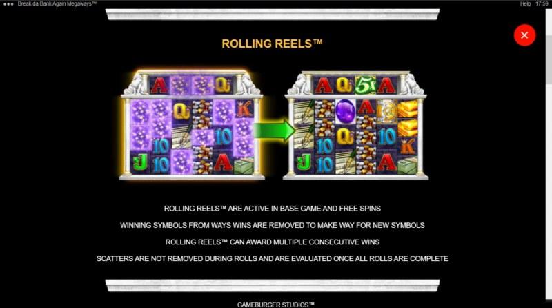 Break da Bank Again Megaways :: Rolling Reels Feature