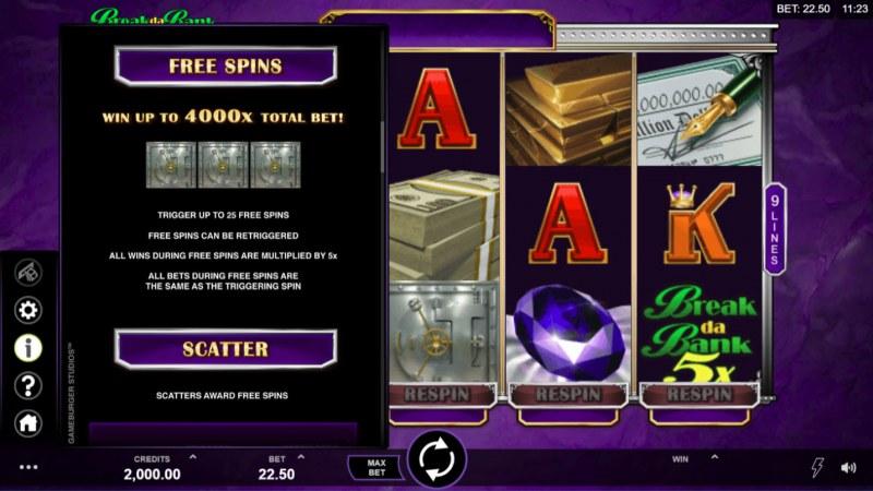 Break Da Bank Again Respin :: Free Spins Rules
