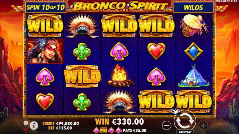 Bronco Spirit :: Added wild symbols trigger multiple winning paylines