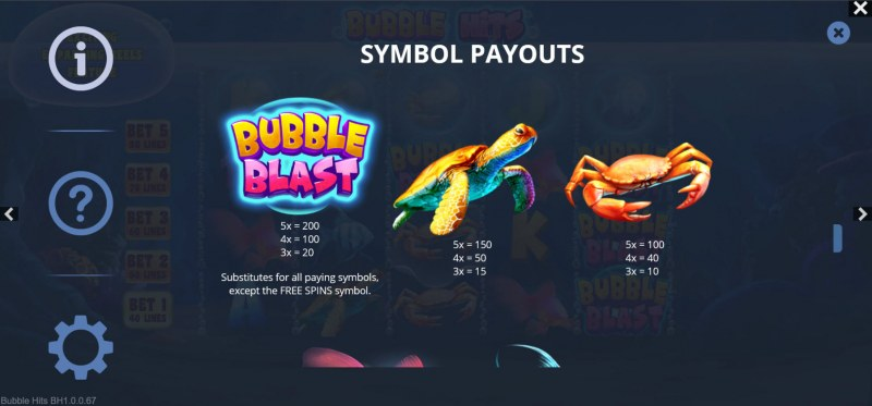 Bubble Hits :: Paytable - High Value Symbols
