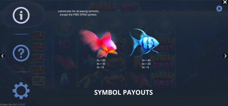 Bubble Hits :: Paytable - Medium Value Symbols