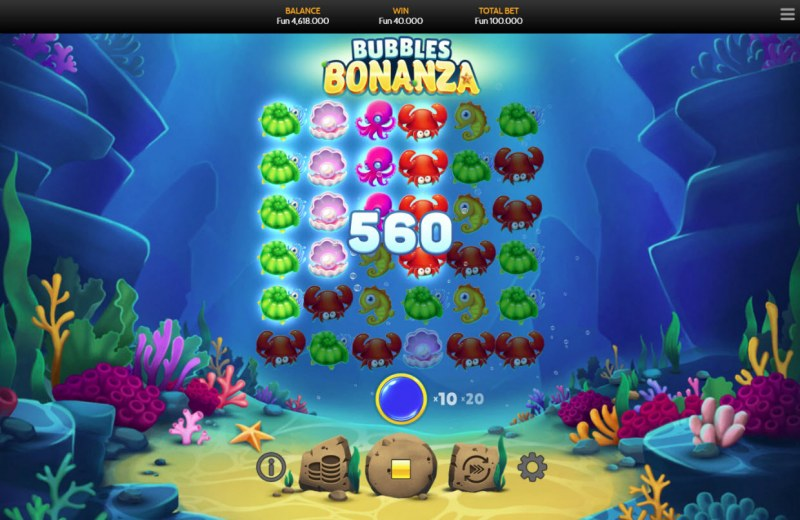 Bubbles Bonanza :: Multiple winning combinations leads to a big win