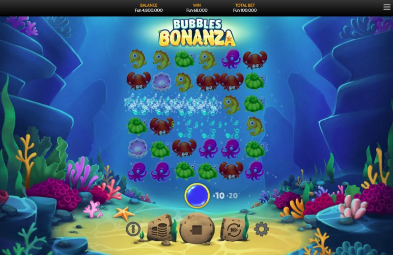Bubbles Bonanza :: Winning symbols are removed from the reels and new symbols drop in place