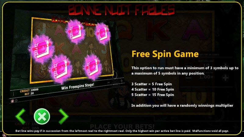 Buen Nuit Fables :: Free Spins Rules