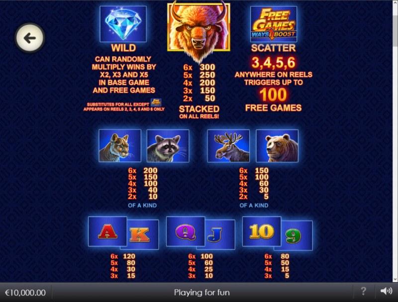 Buffalo Blitz II :: Paytable