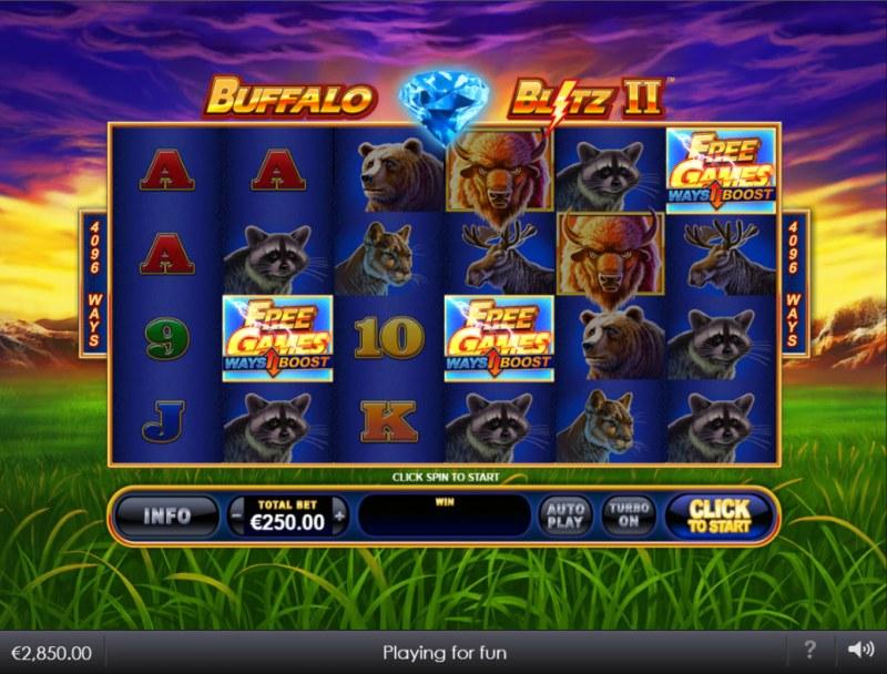 Buffalo Blitz II :: Scatter symbols triggers the free spins bonus feature