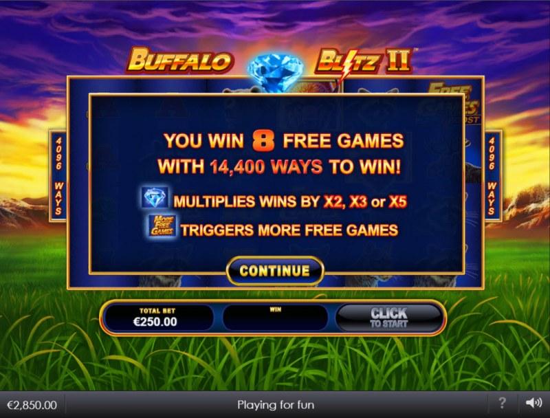 Buffalo Blitz II :: 8 free spins awarded