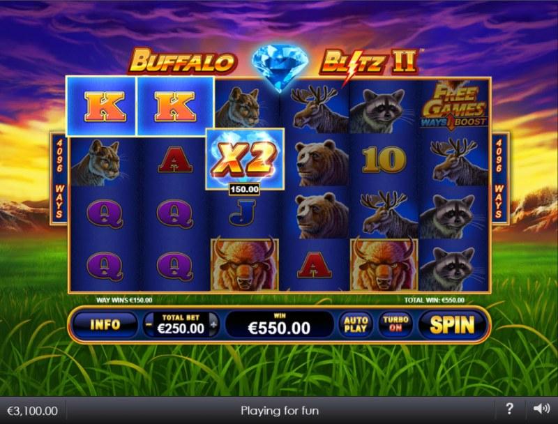 Buffalo Blitz II :: A three of a kind win