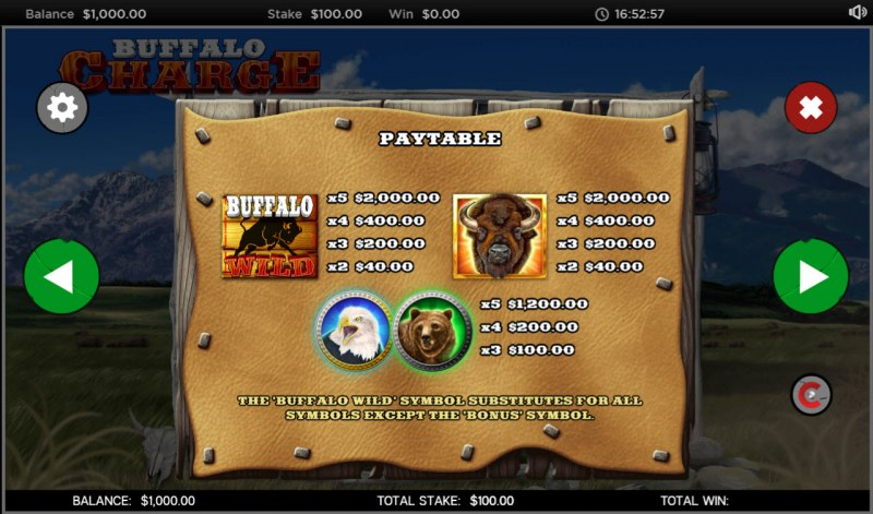 Buffalo Charge :: Paytable - High Value Symbols