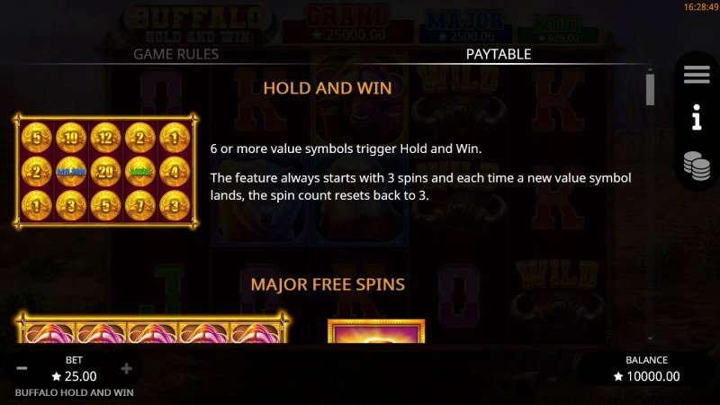 Buffalo Hold and Win :: Hold and Win Feature