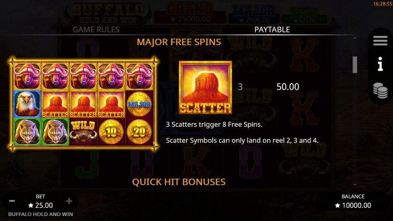 Buffalo Hold and Win :: Free Spin Feature Rules