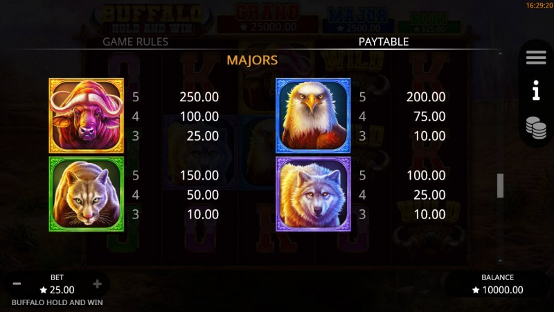 Buffalo Hold and Win :: Paytable - High Value Symbols