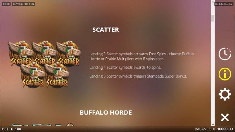 Buffalo Hunter :: Scatter Symbol Rules