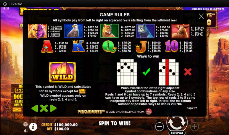 Buffalo King Megaways :: Paytable
