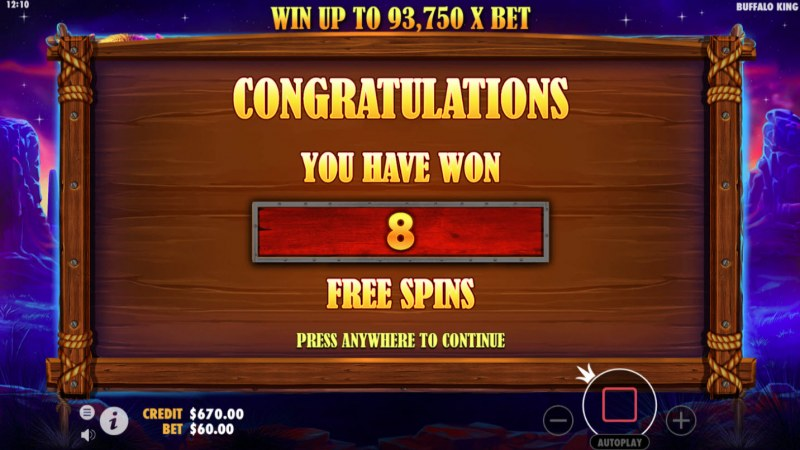 Buffalo King :: 8 Free Spins Awarded