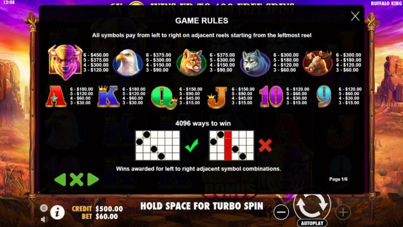 Buffalo King :: Paytable