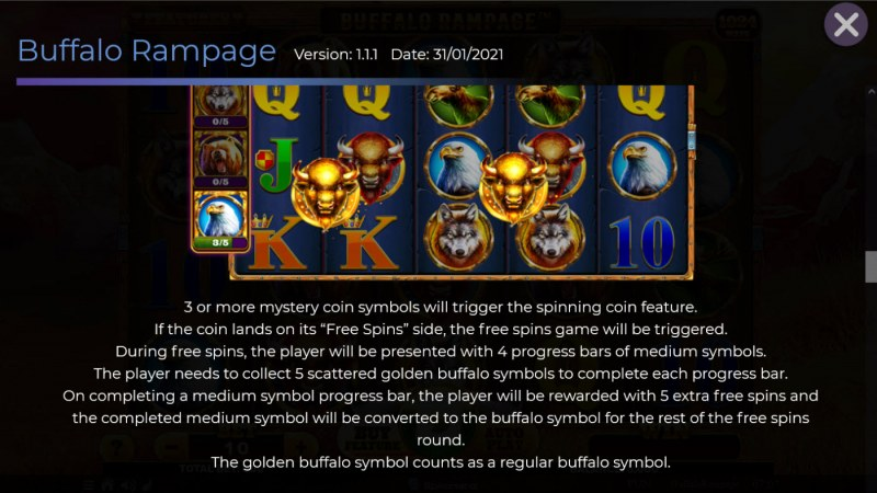 Buffalo Rampage :: Free Spin Feature Rules