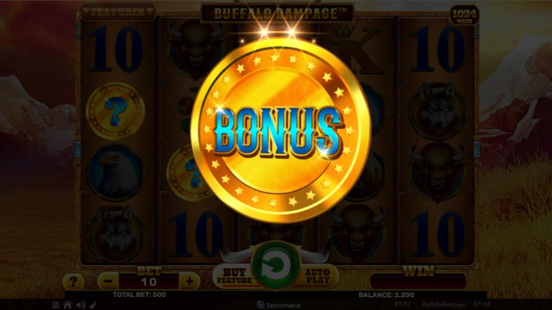 Buffalo Rampage :: Flip the coin for bonus or free spins