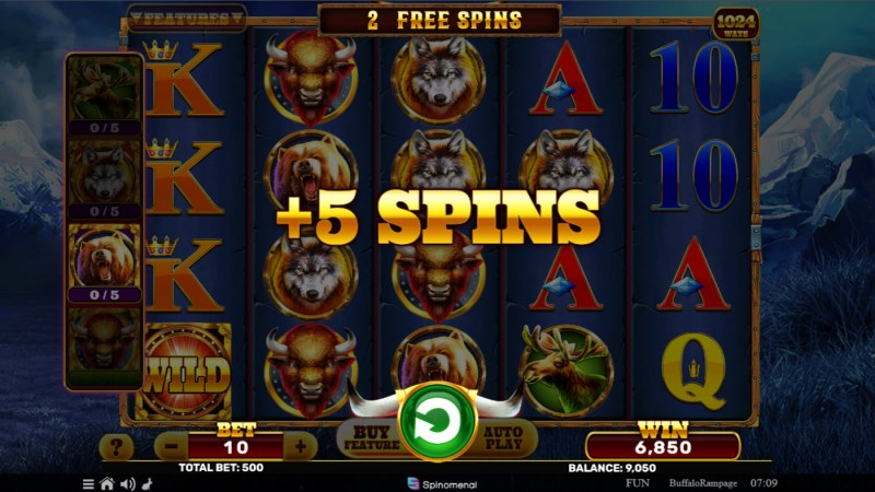 Buffalo Rampage :: Collect golden buffalo symbols and trigger additional free spins
