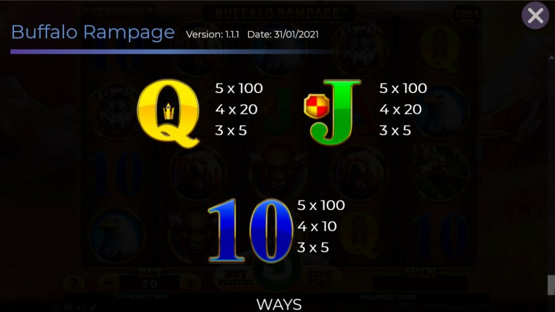 Buffalo Rampage :: Paytable - Low Value Symbols