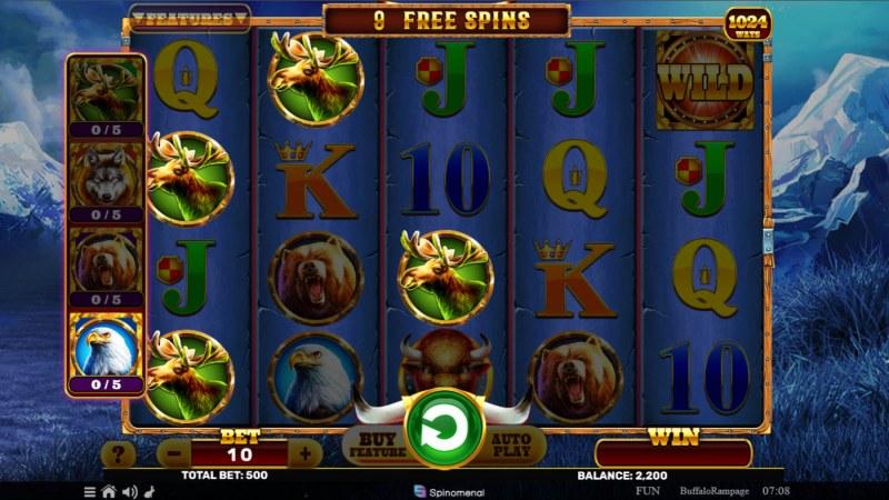 Buffalo Rampage :: Free Spins Game Board