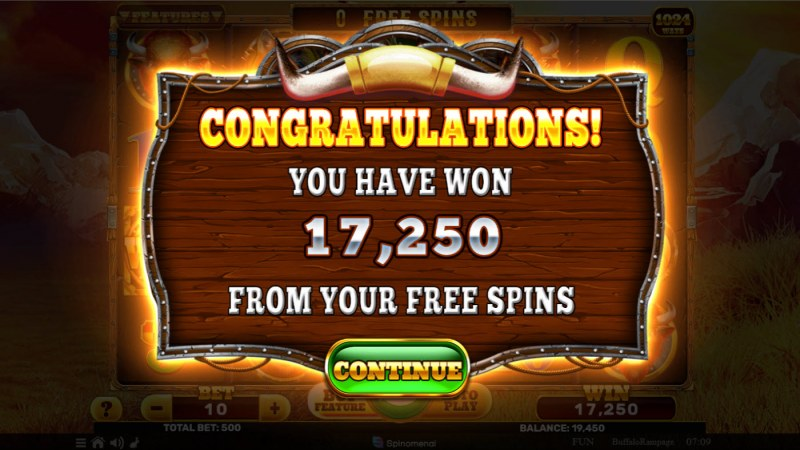 Buffalo Rampage :: Total Free Spins Payout