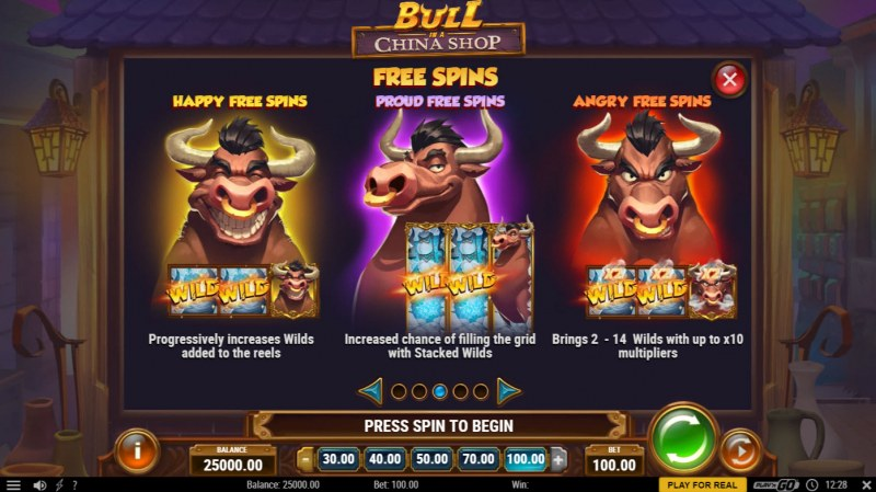 Bull in a China Shop :: Free Spin Feature Rules