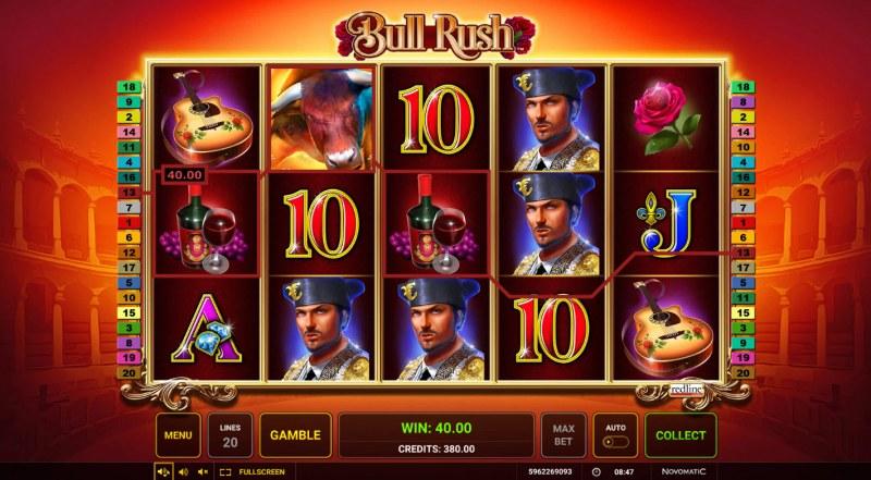 Bull Rush :: A three of a kind win