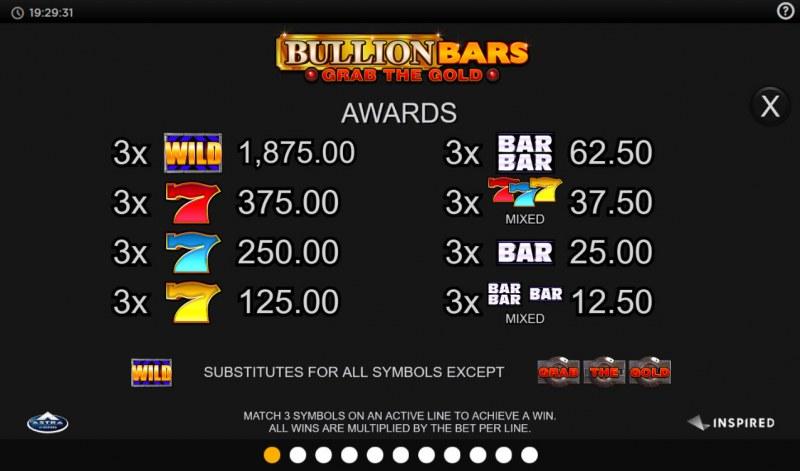 Bullion Bars Grab the Gold :: Paytable