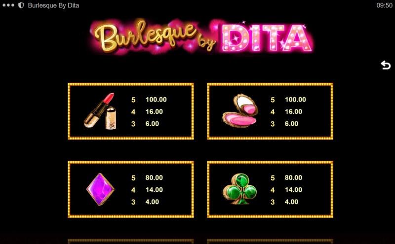 Burlesque by Dita :: Paytable - Medium Value Symbols
