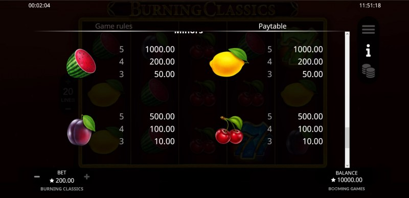 Burning Classics :: Paytable - Low Value Symbols