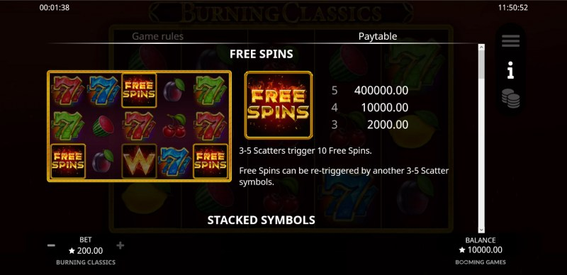 Burning Classics :: Free Spin Feature Rules