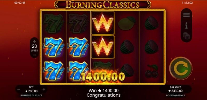 Burning Classics :: A three of a kind win