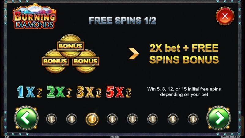 Burning Diamonds :: Free Spins Rules